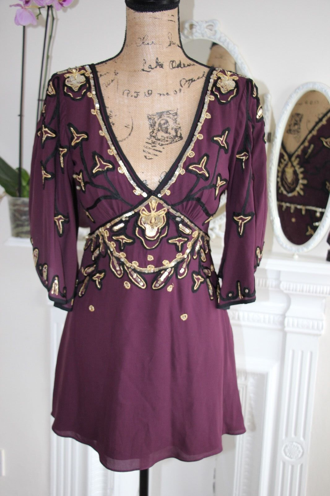 Temperley London lila Wine Embellished Sequin Bead Silk Blouse 10 Small -80%