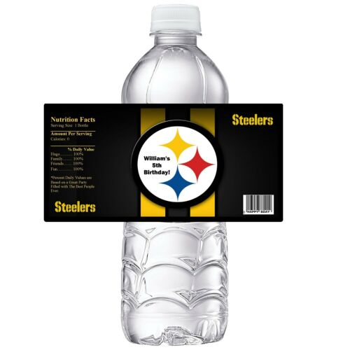 PITTSBURGH STEELERS BIRTHDAY PARTY FAVORS WATER BOTTLE LABELS WRAPPERS CUSTOM