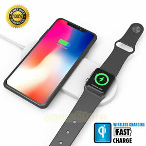 Details about 2 In 1 Fast Qi Wireless Charger Charging Dock Pad For Apple Watch iPhone X XS 8