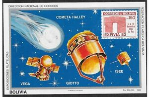 BOLIVIA Sc 690b (NOTE) NH SOUVENIR SHEET OF 1983 - SPACE - HALLEY'S COMET