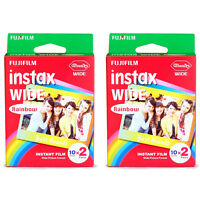 2 Packs 40 Instant Photos Rainbow Fuji Fujifilm Instax Wide Film Polaroid Camera