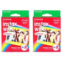 2 Packs 40 Instant Photos Rainbow Fuji Fujifilm Instax Wide Film Polaroid Camera