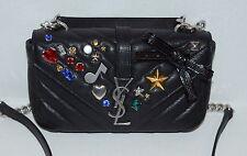 New SAINT LAURENT Ysl College Chain Mix And Match Black Cross Body Bag $2199.99