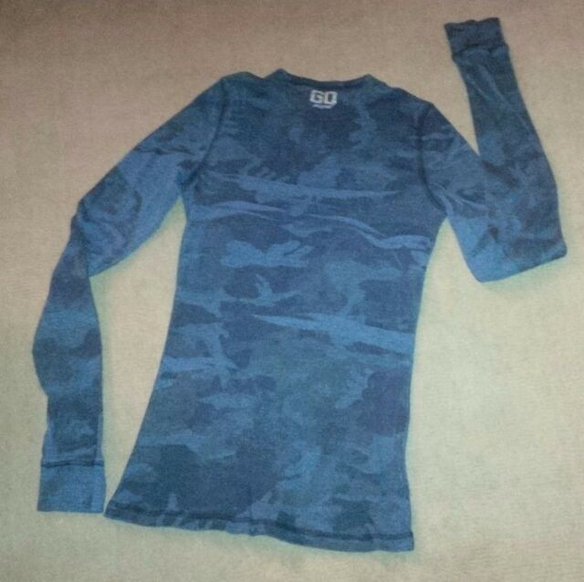 GO Jeans Los Angeles Waffle Navy Blue Camouflage Top Juniors XL Thermal Crew