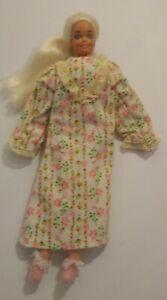 """Vintage 1976 Bedtime Barbie Doll Soft Body Pink Floral Pajama's Mattel 11"""""""