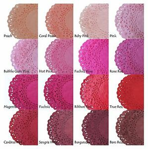 00411e6060f3 Pink Red Burgundy Fuchsia Peach PAPER LACE DOILIES