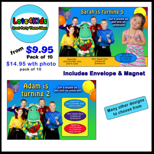 WIGGLES PERSONALISED BIRTHDAY PARTY INVITATIONS PARTY ITEMS PACKS OF 10 & 15