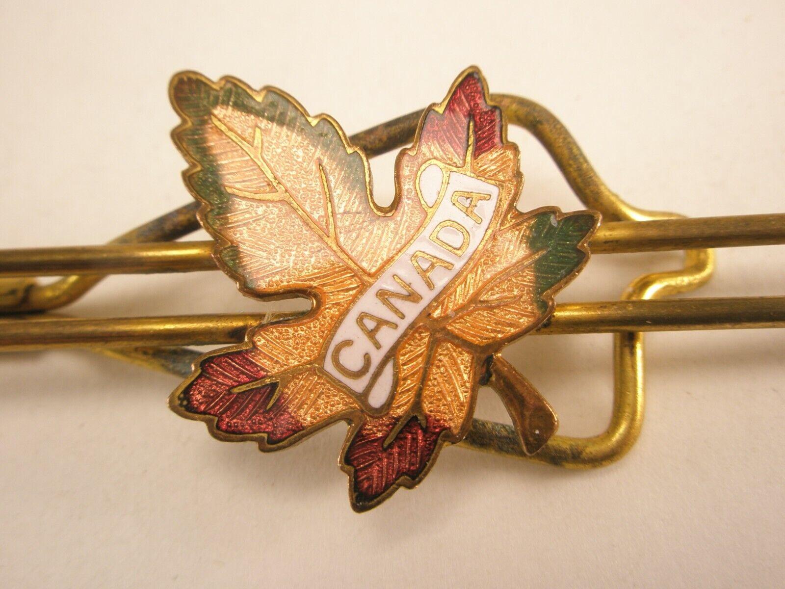 Vintage Winnipeg Canada Gold Tone Enamel Tie Bar Clip Canada Maple Leaf