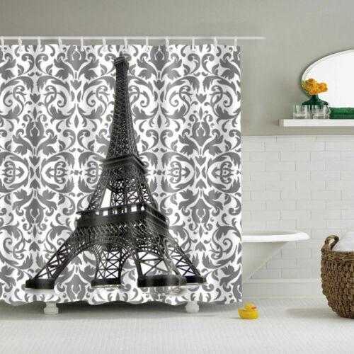 Totem Eiffel Tower Polyester Waterproof Bathroom Fabric Shower Curtain 12 Hook