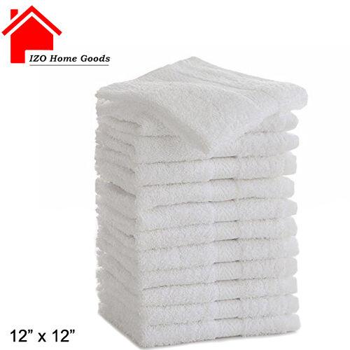 WHITE COTTON WASHCLOTHS DURABLE TOWELS HOTEL FACIAL BARBER SALON GYM 12X12