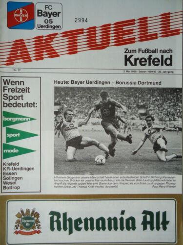 Programm 1989//90 Bayer 05 Uerdingen Borussia Dortmund