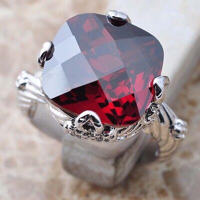Unique Red Garnet Gems 925 Sterling Silver Women Ring Size 6 7 8 9 N0116