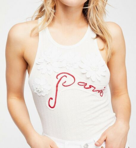 NWT FREE PEOPLE SzM CITY LOVE EMBROIDERY /& APPLIQUE RACERBACK TANK TOP IVORY