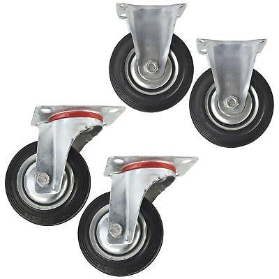 """Dynamisch 4"""" (100mm) Rubber Fixed And Swivel Castor Wheel Trolley Caster (4 Pack) Cst03_ Eine GroßE Auswahl An Farben Und Designs"""