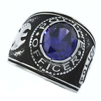 Amethyst Purple Stone Police Officer Silver Stainless Steel Mens Ring