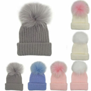 Kids Baby Winter Warm Knit Beanie Hat Boys Girls Faux Fur Pom Bobble ... 126eba1075a0