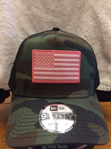 New Era NE205  Camo  Mesh Trucker Snapback Hat//Cap w// Pink White American Flag