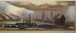 Allan-Dudley-Jones-1965-Stormy-Harbor-Tempera-Ptg-Listed-Virginia-Artist