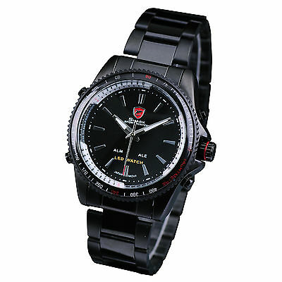 Shark Sport Mens Stainless Steel Date Quartz Analog Black Dial Wrist Watch