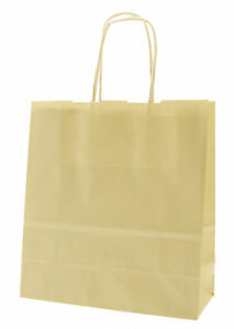 Cream Party Paper Carrier Bags with Twisted Paper Handles - Size: 20 x 18 x 8