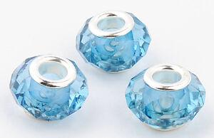 10pc lampwork crystal silver Acrylic beads fit European beaded charms bracelet J