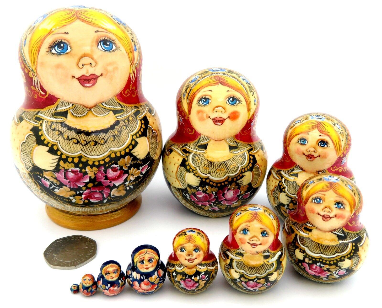 Rot Kopftuch Blau Babuschka Russische Stapelbare Puppen 10 Verschachtelte