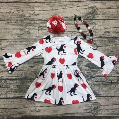 Toddler Kids Baby Girls Cartoon Long Sleeve Princess Dress Set Valentine Clothes