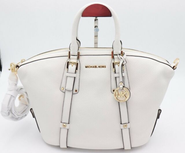 a61fa136cc80 NWT MICHAEL Michael Kors White Bedford Leather Belted Medium Satchel Bag New