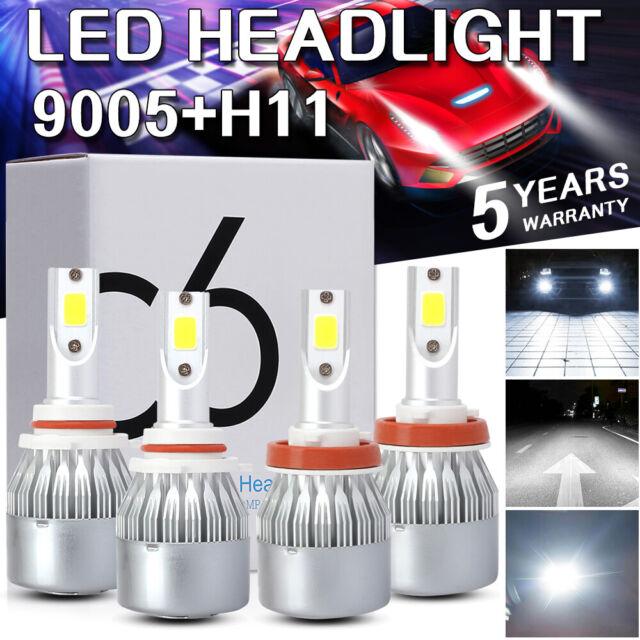 9005+H11 Combo Kit COB LED 60W LED Headlight High Low Bulbs 6K Xenon White Light