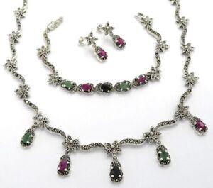 Pulsera+ Set De Esmeralda Zafiro Rubí & Marcasita Collar Other Fine Jewelry Sets