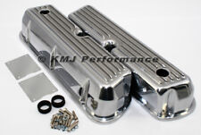 62-85 SBF Ford 302 Retro Finned Polished Aluminum Tall Valve Covers 289 351W 5.0
