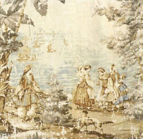 Drapery Upholstery Fabric Preshrunk Fabric Protected Toile Vintage Linen #197