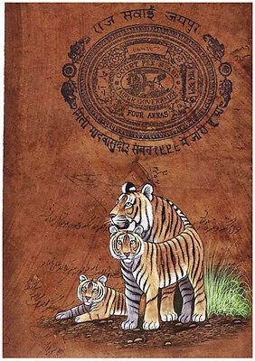 INDIAN MINIATURE PAINTING ON OLD STAMP PAPER WATER COLOR FIERCE INDIAN TIGERS