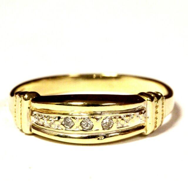14k yellow gold .03ct VS G diamond womens wedding band ring 2g estate