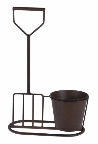 Garten Deko Pflanztopf Metall Blumentopf mit Forke in Rost Optik 38x24 cm