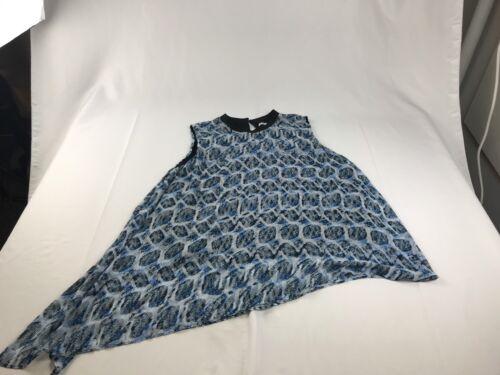 Rachel Rachel Roy Womens Print Asymmetrical Hem Tank Top Blouse 3X Blue