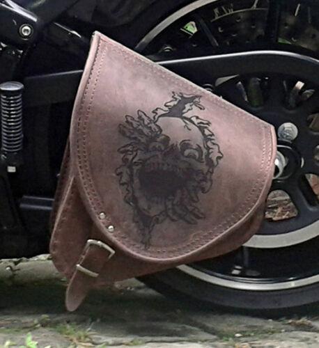 Yamaha XVS 650 Drag Star Kopf Braun Leder Satteltasche Einseitig Fahrradtasche