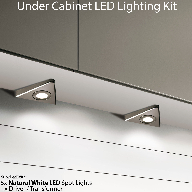 5x 2.6 W LED Spot Luz y controladores de triángulo de Cocina-Acero Inoxidable Acero-blancoo natural