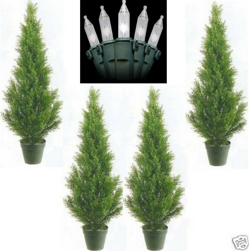 4 CEDAR OUTDOOR 3' TOPIARY UV TREE ARTIFICIAL CYPRESS 6 5 PINE CHRISTMAS LIGHTS