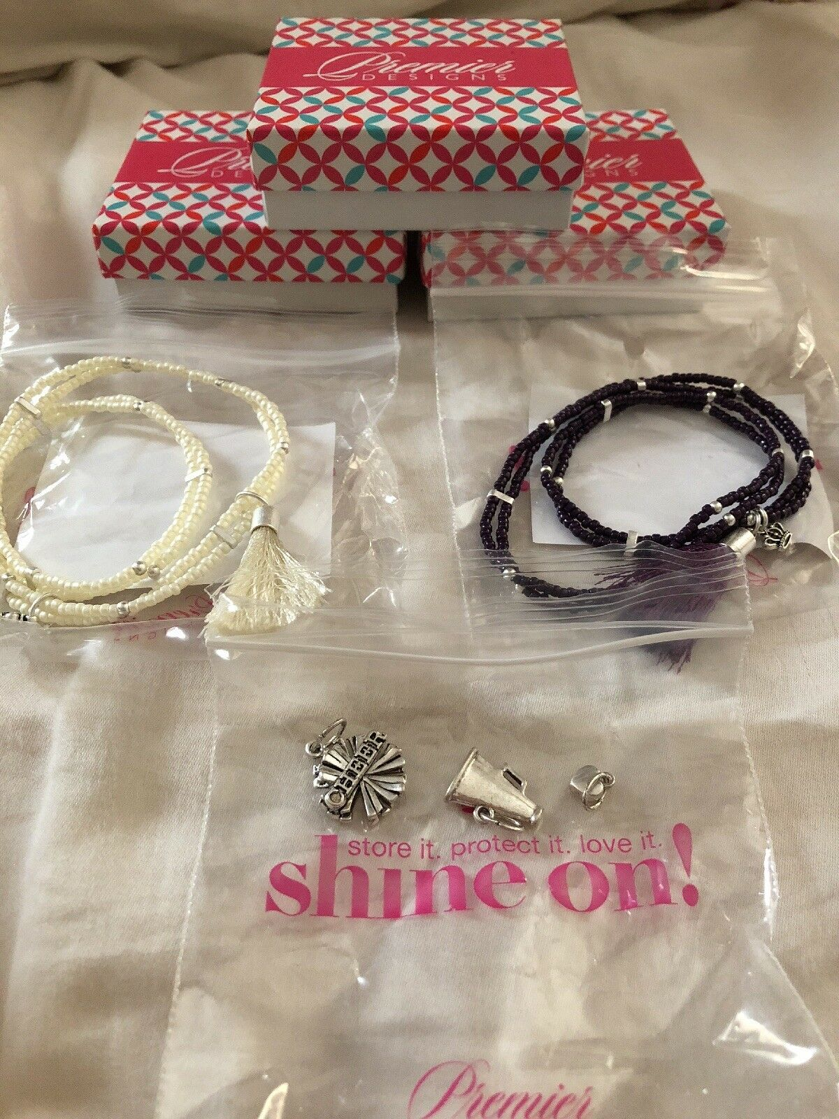 Premier Designs color Play Bracelets- Purple & White w Cheer Charms NIB