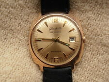 GLASHUTTE SPEZIMATIC 26 JEVELS  GOLD PLATED ROUND CASE FREE SHIPPING