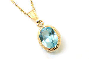 9ct Gold Blue Topaz Teardrop Pendant no chain Gift Boxed Made in UK