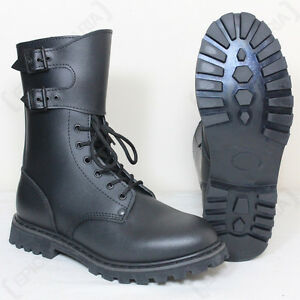 BLACK FRENCH RANGER BOOTS - Military Army Combat Leather Shoes All ...