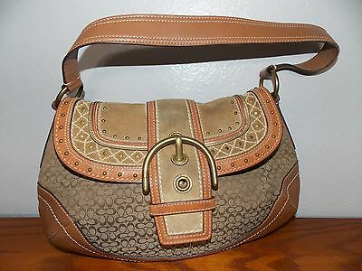 Coach C Signature Purse Brown Rivet Buckle Suede Leather Bag Handbag L1016