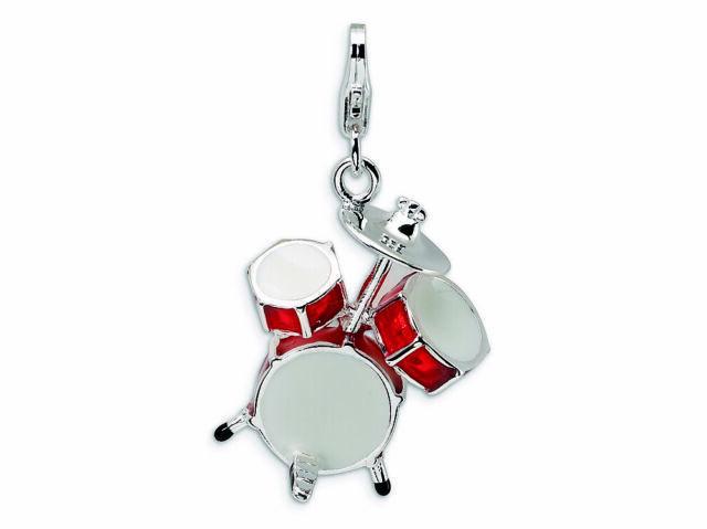 Drum Set Charm 3D Enameled .925 Sterling Silver Click On Amore La Vita
