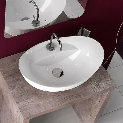Lavabo arredo bagno da appoggio in ceramica bianco 59x39 cm a bacinella