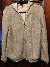 Women's Escada Sport Zip Hooded Cardigan Sweater Size L Gray Embellishe Sequins