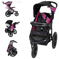 Baby Jogging Stroller Running Swivel Wheel Multi Position Adjustable Purple Blac