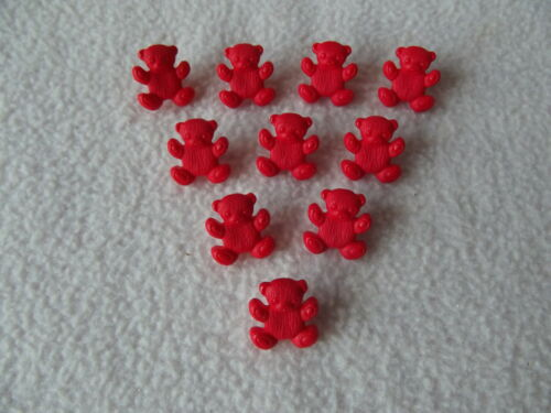 CRAFT// BABIES 10 x RED TEDDY BEAR SHAPED BUTTONS ~ 26L approx 15mm