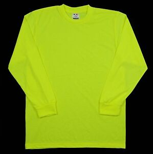 HIGH-VISIBILITY-LONG-SLEEVE-SHIRT-SAFETY-GREEN-BRIGHT-NEON-PRO-USA-SOFT
